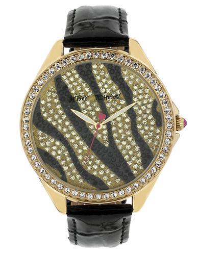 BETSEY JOHNSONLadies Gold Tone and Black Crystal Set Watch
