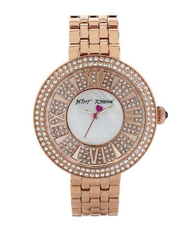 BETSEY JOHNSONLadies Rose Gold Tone and Crystal Link Bracelet Watch