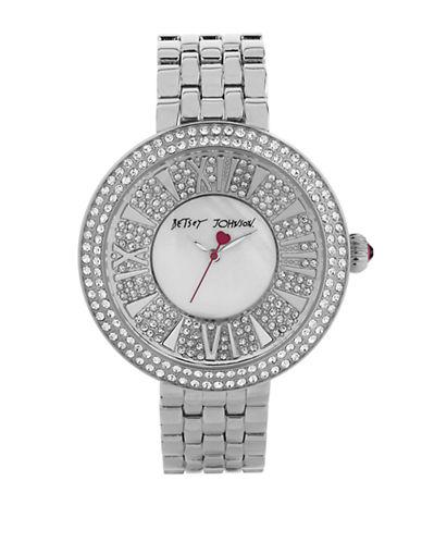 BETSEY JOHNSONLadies Silver Tone and Crystal Link Bracelet Watch