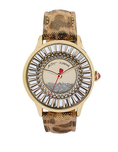 BETSEY JOHNSONLadies Metallic Crystal and Leopard Watch
