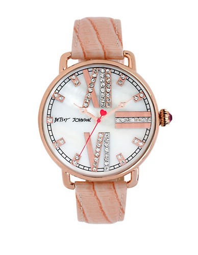 BETSEY JOHNSONLadies Rose Gold Tone and Glitz Watch with Patent Leather Strap