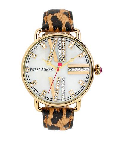 BETSEY JOHNSONLadies Gold Tone and Glitz Watch with Leopard Print Strap