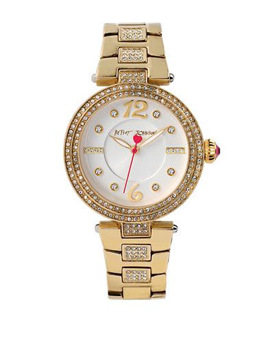BETSEY JOHNSONLadies Gold Tone Glitz Quartz Watch
