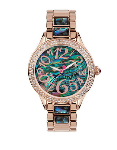 Abalone Shell Rose Goldtone Link Bracelet Watch