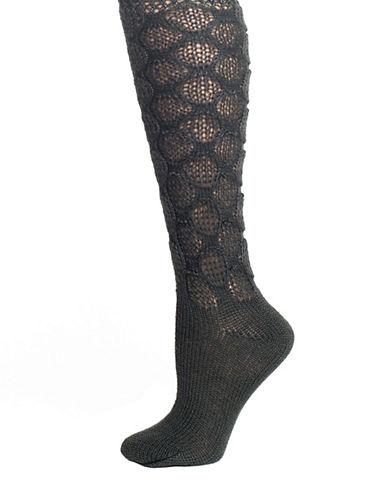 LEMONFrosted Crochet Knee High Socks