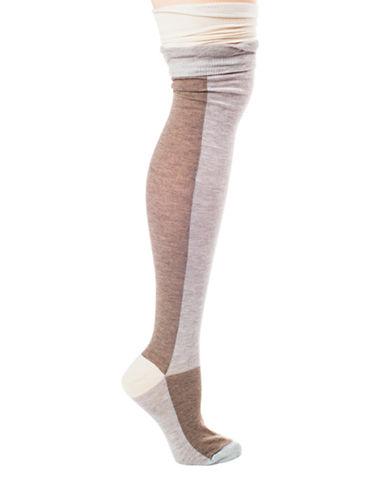 LEMONColorblock Over The Knee Socks