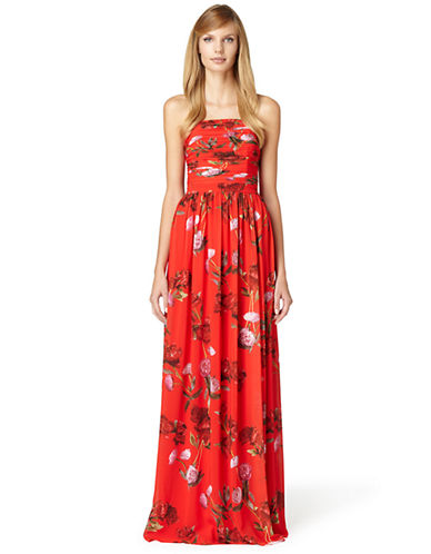 ERIN FETHERSTON Isabelle Floral Print Strapless Gown