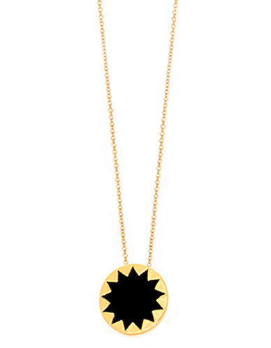 HOUSE OF HARLOW 1960Gold Tone and Black Circular Pendant Necklace
