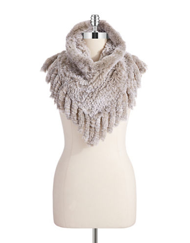 ADRIENNE LANDAU Rex Rabbit Fur Cowl Scarf With Fringe