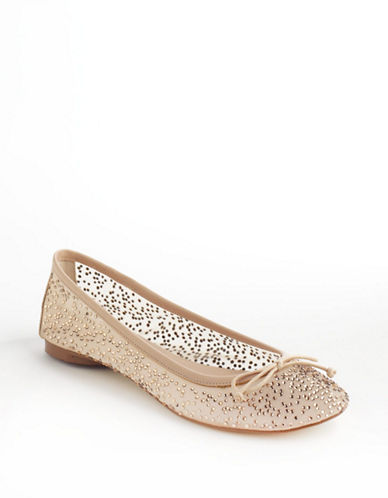 Adrianna Papell Selina Embellished Leather and Mesh Ballet Flats