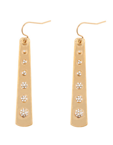KARA ROSS Crystal and 18Kt. Gold Plated Slab Drop Earrings