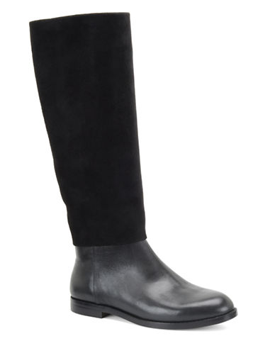 CARMEN MARC VALVO Mackenzie Leather and Suede Tall Boots