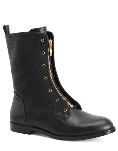 CARMEN MARC VALVO Shawna Tumbled Leather Zip Mid Shaft Boots