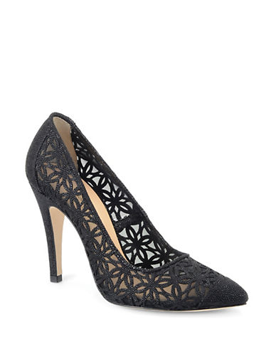 CARMEN MARC VALVO CALZATURE Kristen Embossed Leather and Mesh Pumps