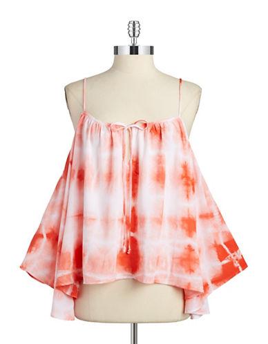 Tie-Dye Cold Shoulder Top plus size,  plus size fashion plus size appare