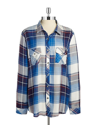 VINTAGE HAVANA Button-Front Plaid Shirt