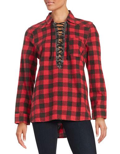 Lace-Up Plaid Top plus size,  plus size fashion plus size appare
