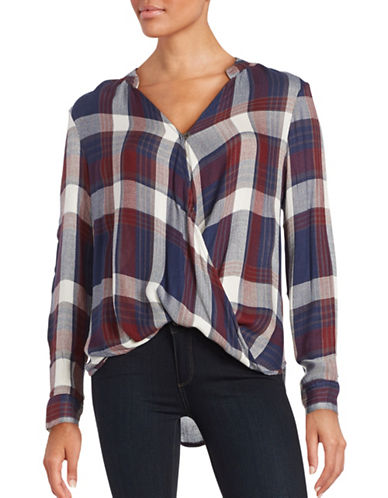 Plaid Wrap Blouse plus size,  plus size fashion plus size appare