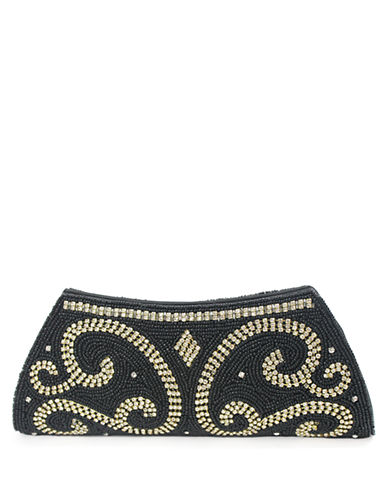 MICKY LONDONGolden River Beaded Satin Clutch
