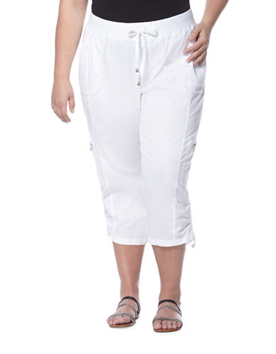Plus Poplin-Garment Washed Capri Pants plus size,  plus size fashion plus size appare