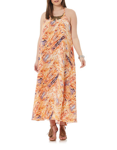 Tribal Open-Back Halter Maxi Dress plus size,  plus size fashion plus size appare