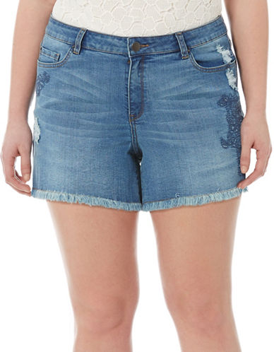 Leila Distressed Embroidered Denim Shorts plus size,  plus size fashion plus size appare