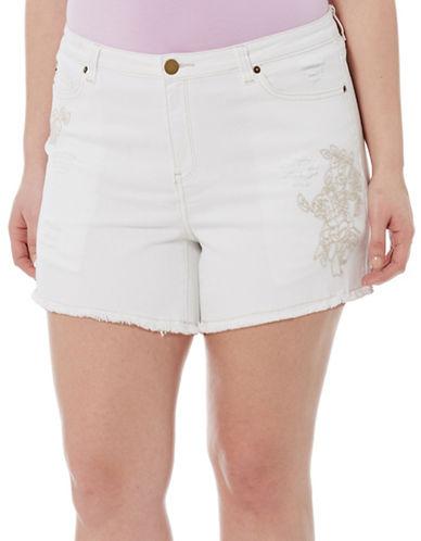 Embroidered Denim Shorts plus size,  plus size fashion plus size appare