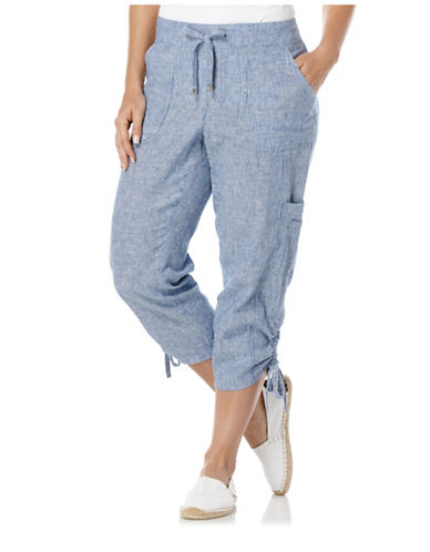 Linen Classic Fit Capri Pants plus size,  plus size fashion plus size appare