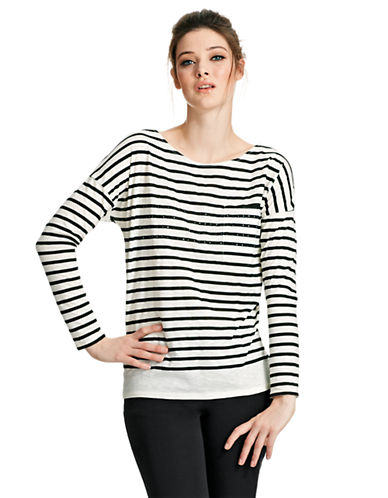 424 FIFTH Striped Tee with Rhinestones