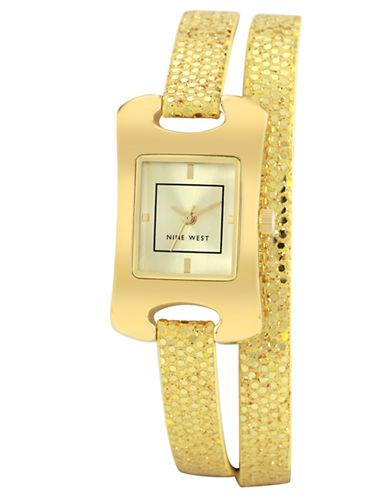 NINE WESTLadies Rectangular Glitter Wrap Watch