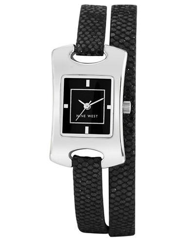 NINE WESTLadies Black Rectangular Glitter Wrap Watch