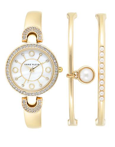 ANNE KLEIN3-Piece Swarovski Crystal and Faux Pearl Watch and Bracelet Set