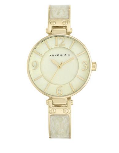 Goldtone Ivory Enamel Bangle Watch, AK-2210IMGB