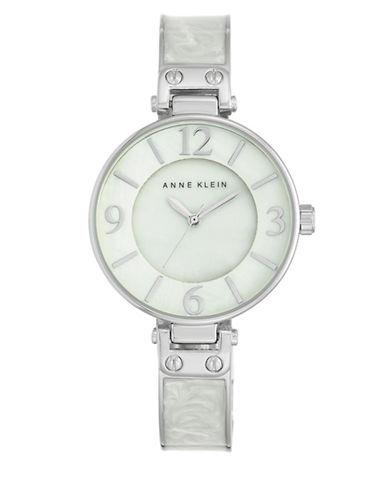 Silvertone White Enamel Bangle Watch, AK-2211WTSV