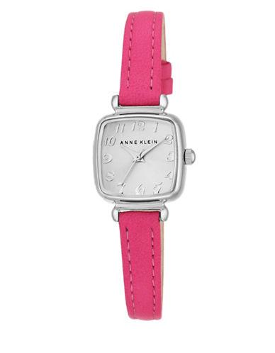 Silvertone Pink Leather Strap Watch, AK-2385SVPK