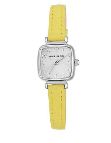 Silvertone Yellow Leather Strap Watch, AK-2385SVYL