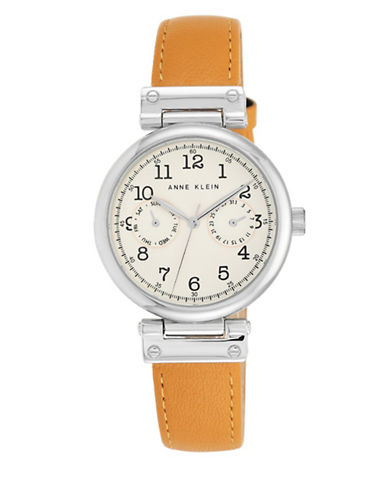 Silvertone Beige Leather Strap Watch, AK-2251CRMG