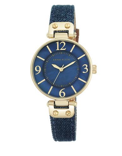 Goldtone Blue Denim Strap Watch, 10-9168BMDD