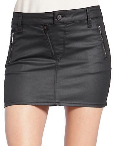 MAVILola Coated Asymmetrical Zip Skirt