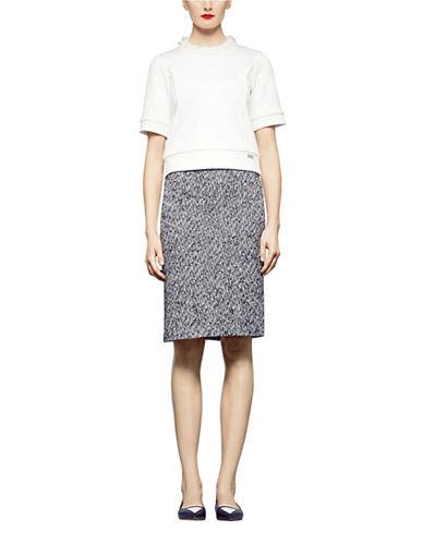 PINK TARTANWool Blend Herringbone Pencil Skirt
