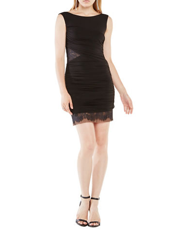 bcbgmaxazria female renay lace blocked ruched dress