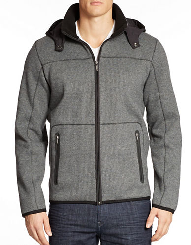 BUGATTI Sweater Jacket with Removable Hood