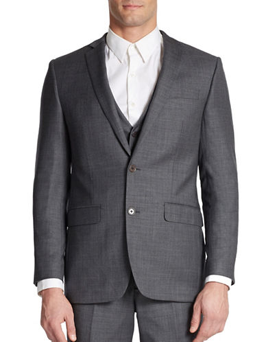 TALLIA ORANGE Slim Fit Two-Button Woven Wool Blazer