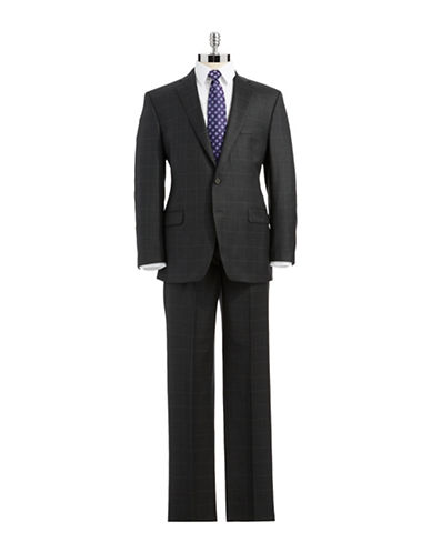LAUREN RALPH LAUREN Classic Fit Two-Piece Windowpane Wool Suit