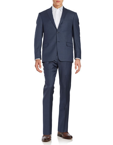 michael kors male muted checked wool suit set