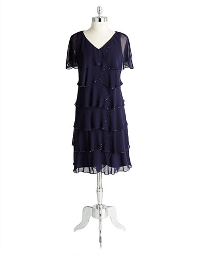 Beaded and Tiered Flutter Sleeve Dress $95.02 AT vintagedancer.com