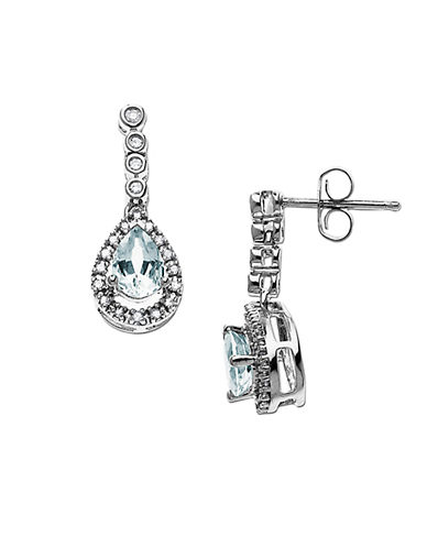 LORD & TAYLOR 14 Kt. White Gold Aqua and Diamond Drop Earrings