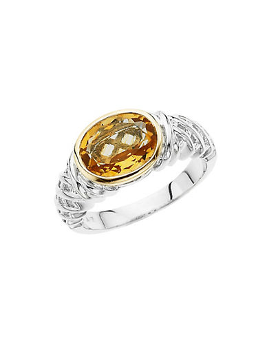 LORD & TAYLOR Sterling Silver & 14 Kt. Yellow Gold Citrine Ring