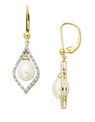 LORD & TAYLOR Freshwater Pearl & Diamond Drop Earrings in 14 Kt. Yellow Gold, 7mm x 9mm