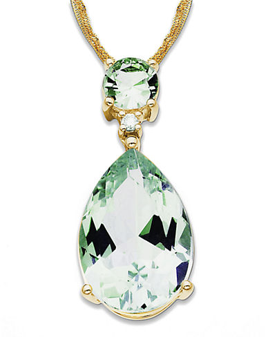 LORD & TAYLOR 14 Kt. Gold Diamond and Green Amethyst Necklace